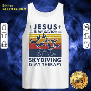 Jesus Is My Savior Skydiving Is My Therapy Tank Top- Design By Earstees.com
