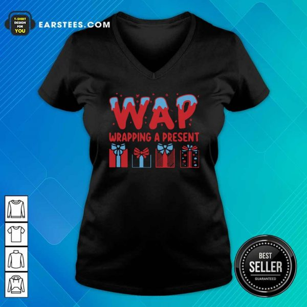 Wap Wrapping A Present V-neck - Design By Earstees.com
