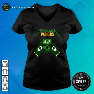 Skull Metallica Green Bay Packers V-neck- Design By Earstees.com