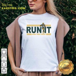 Aaron Jones Run It Down Their Throat V-neck- Design By Earstees.com