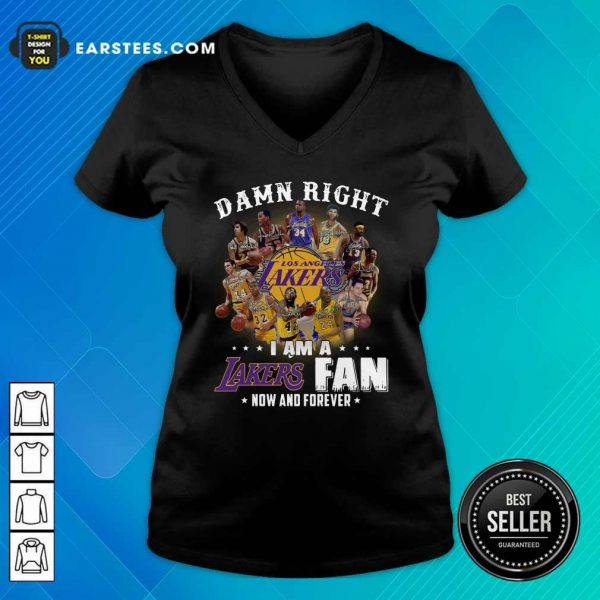 Damn Right I Am A Los Angeles Lakers Fan Now And Forever Signatures V-neck- Design By Earstees.com
