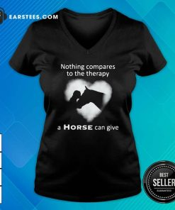 Nothing Compares To The Therapy A Horse Can Give Heart V-neck- Design By Earstees.com