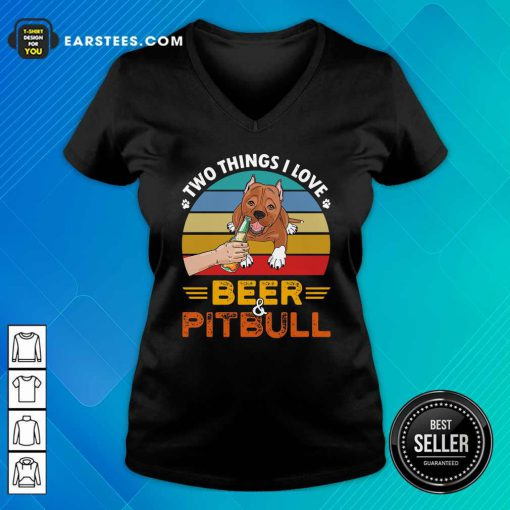 Pitbull Two Things I Love Beer 2021 Vintage V-neck- Design By Earstees.com