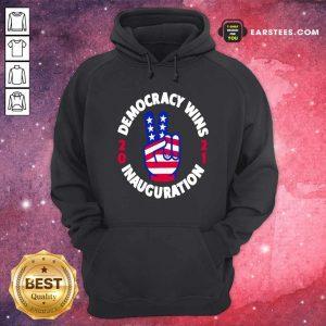 Democracy Wins Inauguration Biden Harris 2021 Hand American Flag Hoodie- Design By Earstees.com