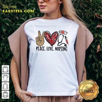 Diamond Peace Love And Nursing 2021 V-neck- Design By Earstees.com