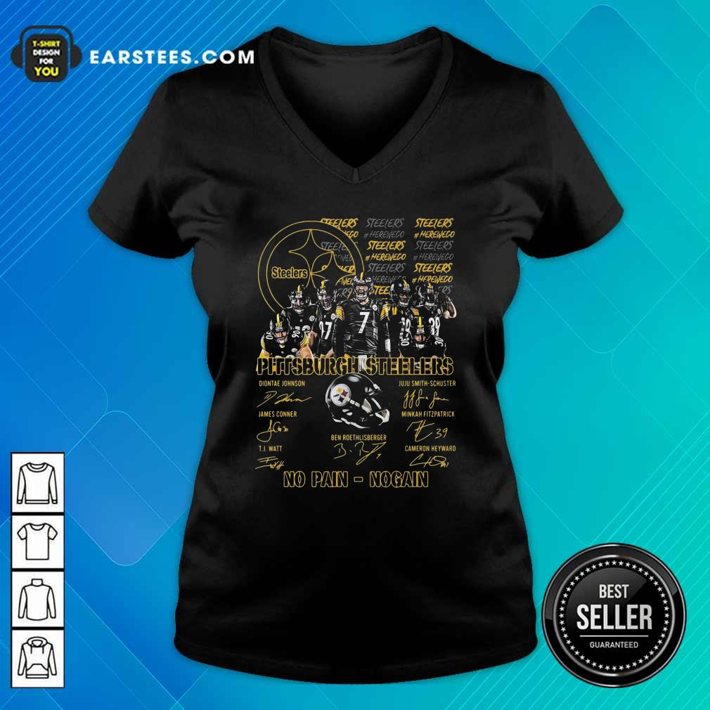 Pittsburgh Steelers No Pain No Gain Signatures V-neck- Design By Earstees.com