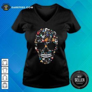 Skull Guitars V-neck- Design By Earstees.com