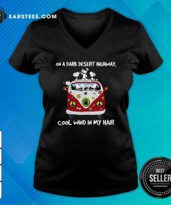 Snoopys On A Dark Desert Highway Cool Wind In My Hair V-neck- Design By Earstees.com