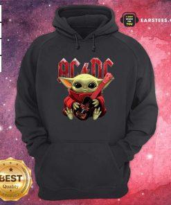 Star Wars Baby Yoda Hug Guitar With Ac Dc 2021 Hoodie- Design By Earstees.com