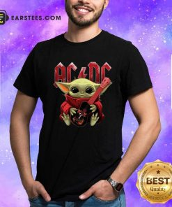 Star Wars Baby Yoda Hug Guitar With Ac Dc 2021 Shirt- Design By Earstees.com