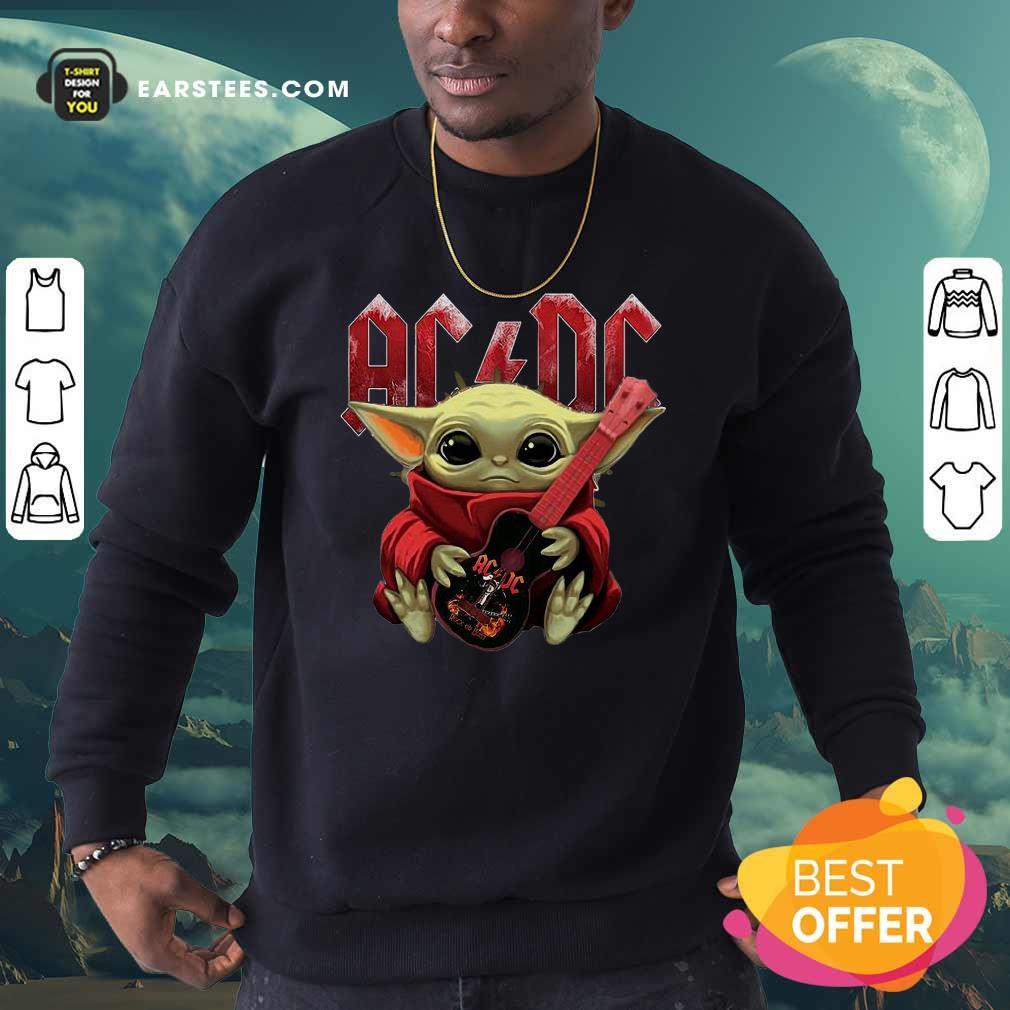 Star Wars Baby Yoda Hug Guitar With Ac Dc 2021 Sweatshirt- Design By Earstees.com
