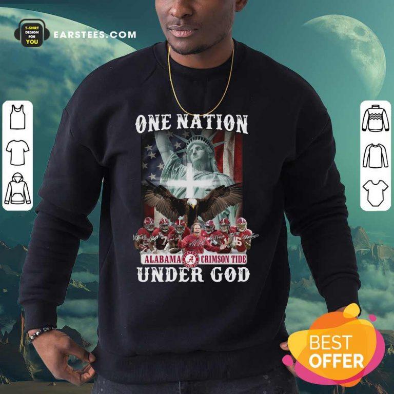 Alabama Crimson Tide One Nation Under God Signatures 2021 Sweatshirt- Design By Earstees.com