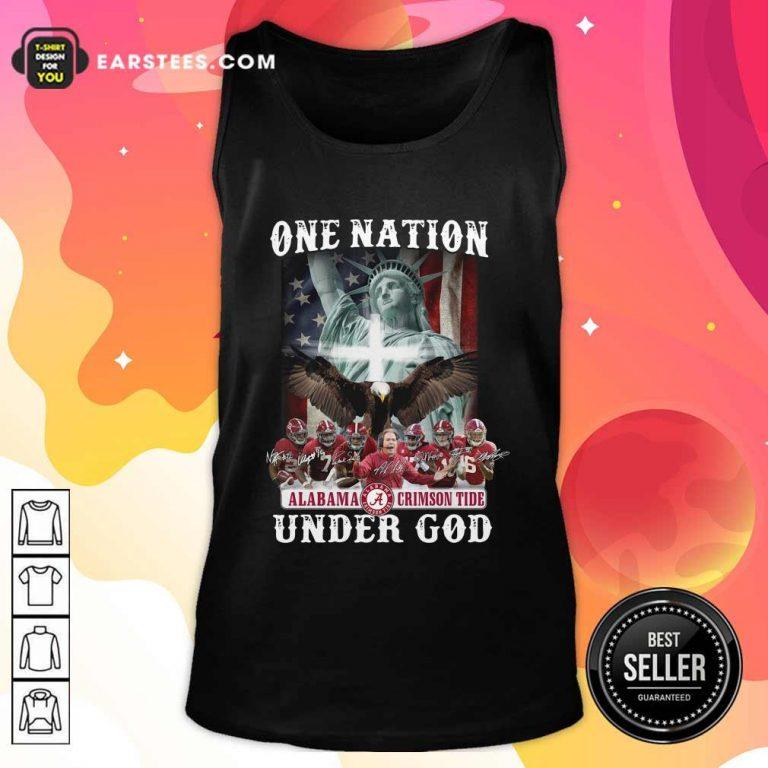 Alabama Crimson Tide One Nation Under God Signatures 2021 Tank Top- Design By Earstees.com