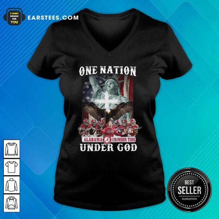 Alabama Crimson Tide One Nation Under God Signatures 2021 V-neck- Design By Earstees.com