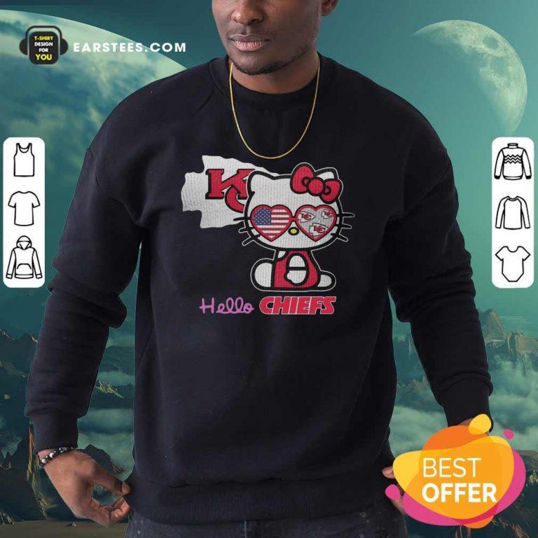Hello Kitty Hello Kansas City Chiefs With American Flag 2021 Sweatshirt- Design By Earstees.com