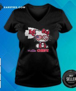 Hello Kitty Hello Kansas City Chiefs With American Flag 2021 V-neck- Design By Earstees.com
