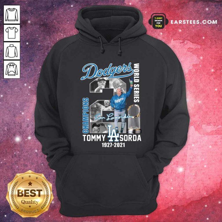 Los Angeles Dodgers Tommy Lasorda World Series 1927 2021 Signature Hoodie- Design By Earstees.com