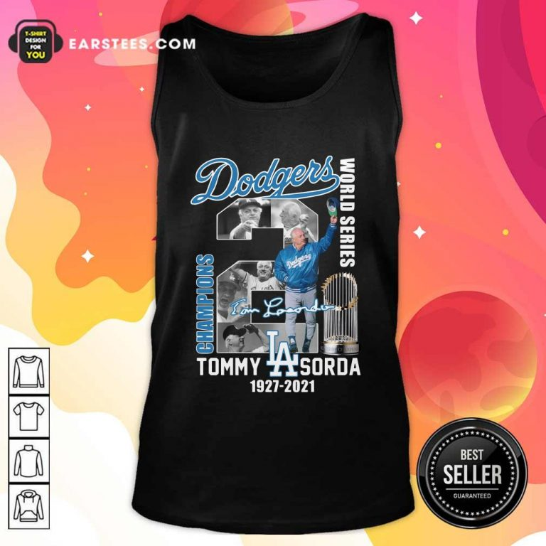 Los Angeles Dodgers Tommy Lasorda World Series 1927 2021 Signature Tank Top- Design By Earstees.com