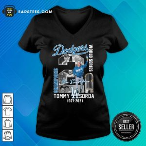 Los Angeles Dodgers Tommy Lasorda World Series 1927 2021 Signature V-neck- Design By Earstees.com