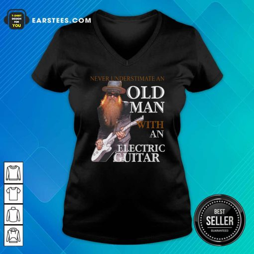 Never Underestimate An Old Man With An Electric Guitar 2021 V-neck- Design By Earstees.com
