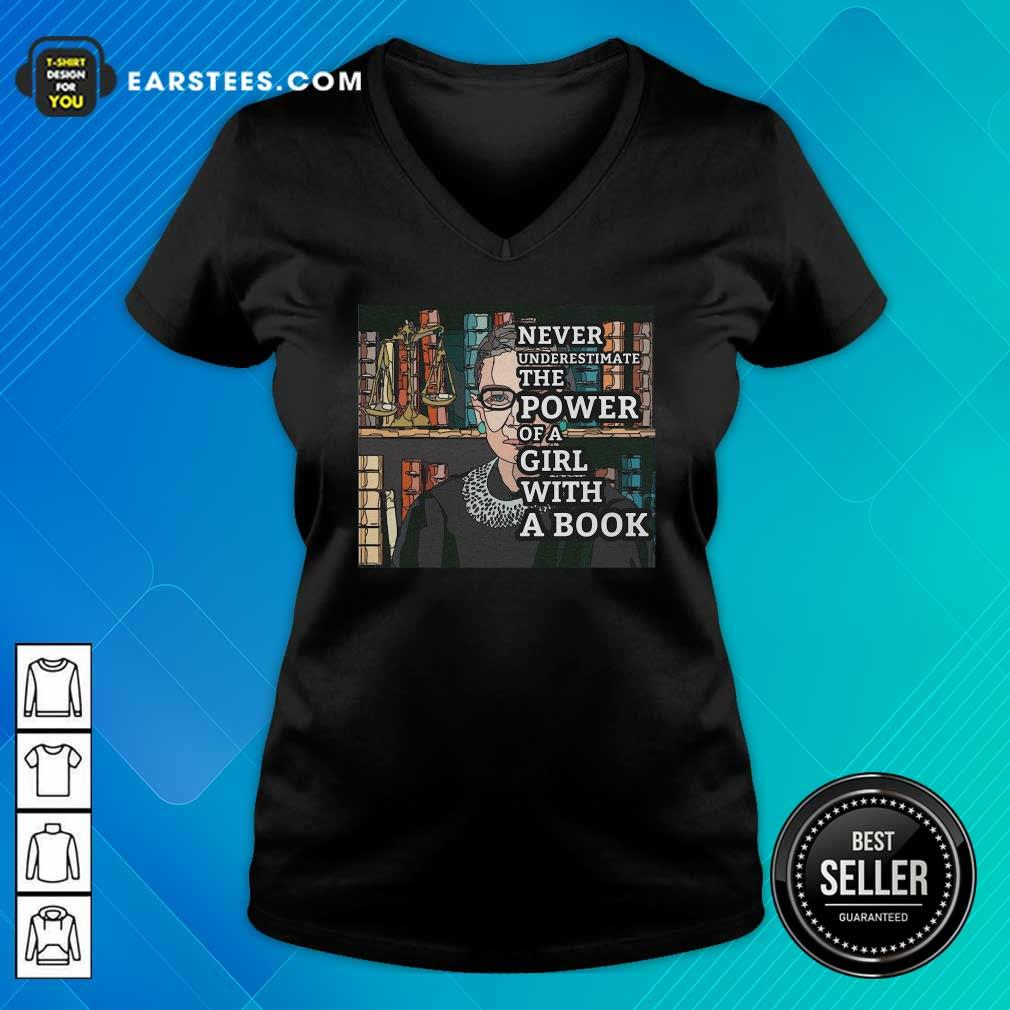 Never Underestimate The Power Of Girl With A Book RBG V-neck- Design By Earstees.com