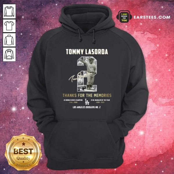 Tommy Lasorda 2 Thank You For The Memories Signature Hoodie- Design By Earstees.com