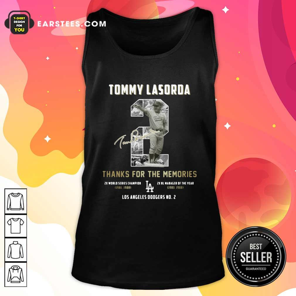 Tommy Lasorda 2 Thank You For The Memories Signature Tank Top- Design By Earstees.com