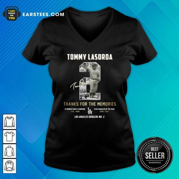 Tommy Lasorda 2 Thank You For The Memories Signature V-neck- Design By Earstees.com