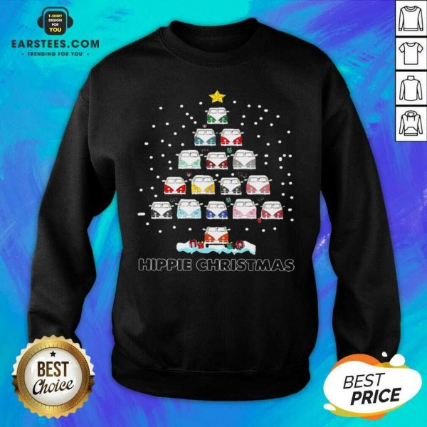 Original Hippie Bus Tree Christmas Sweatshirt - Design By Earstees.com