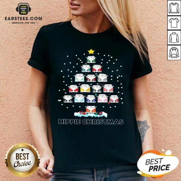 Original Hippie Bus Tree Christmas V-neck - Design By Earstees.com