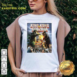 Kaiju Battle King And Kong Godzilla V-neck- Design By Earstees.com