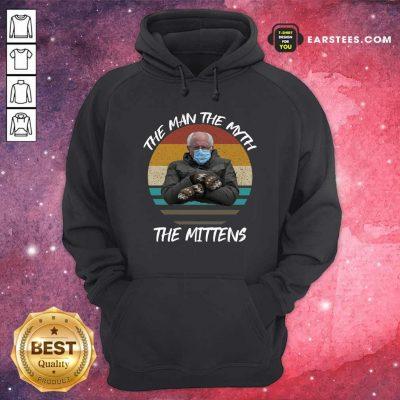 Vintage Bernie Sanders The Man The Myth The Mittens 2021 Inauguration Hoodie- Design By Earstees.com