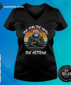 Vintage Bernie Sanders The Man The Myth The Mittens 2021 Inauguration V-neck- Design By Earstees.com