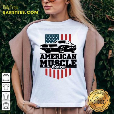 American Muscle Cars Flag V-neck- Design By Earstees.com