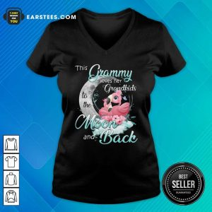Flamingo This Grammy Loves Her Grandkids To The Moon And Back V-neck - Design By Earstees.com