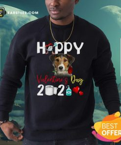 Fox Terrier Happy Valentines Day With Toilet Paper 2021 Sweatshirt- Design By Earstees.com