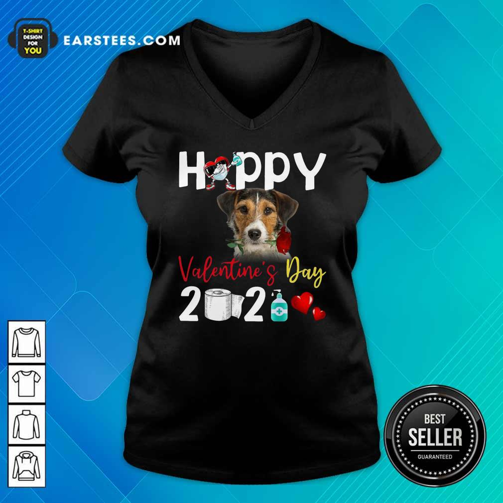 Fox Terrier Happy Valentines Day With Toilet Paper 2021 V-neck- Design By Earstees.com