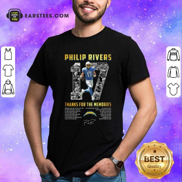 Los Angeles Chargers 17 Philip Rivers Thanks For The Memories 2021 Signature Shirt- Design By Earstees.com
