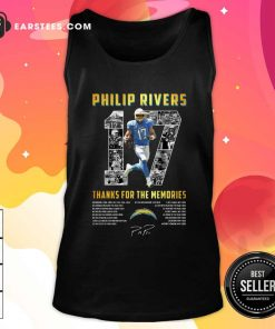 Los Angeles Chargers 17 Philip Rivers Thanks For The Memories 2021 Signature Tank Top- Design By Earstees.com