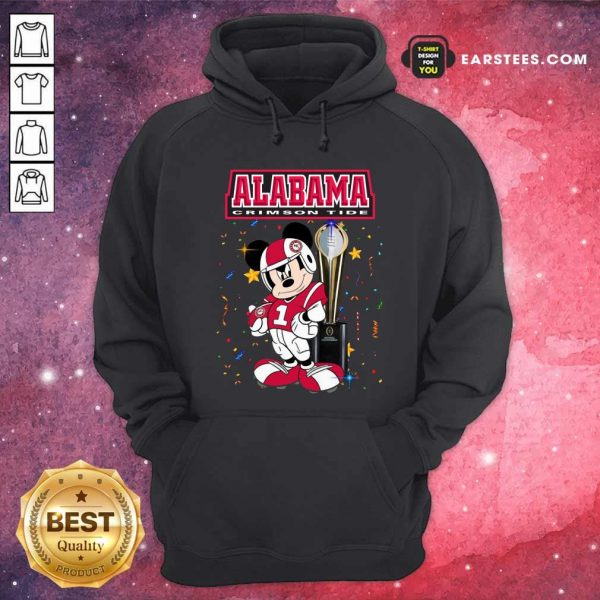 Mickey Mouse And Cup Alabama Crimson Tide Hoodie- Design By Earstees.com