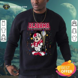 Mickey Mouse And Cup Alabama Crimson Tide Sweatshirt- Design By Earstees.com