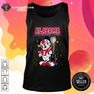 Mickey Mouse And Cup Alabama Crimson Tide Tank Top- Design By Earstees.com