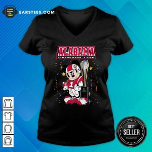 Mickey Mouse And Cup Alabama Crimson Tide V-neck- Design By Earstees.com
