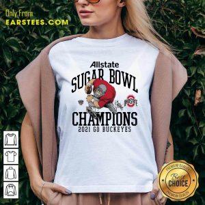 Ohio State Buckeyes Allstate Sugar Bowl Champions 2021 Go Buckeyes V-neck- Design By Earstees.com