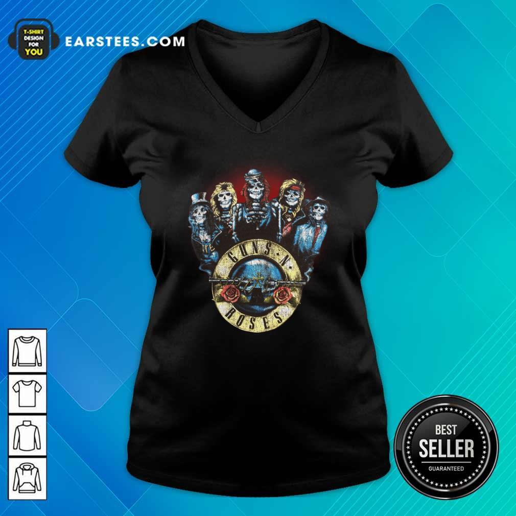 Skeleton Guns N Roses Rock Band V-neck- Design By Earstees.com