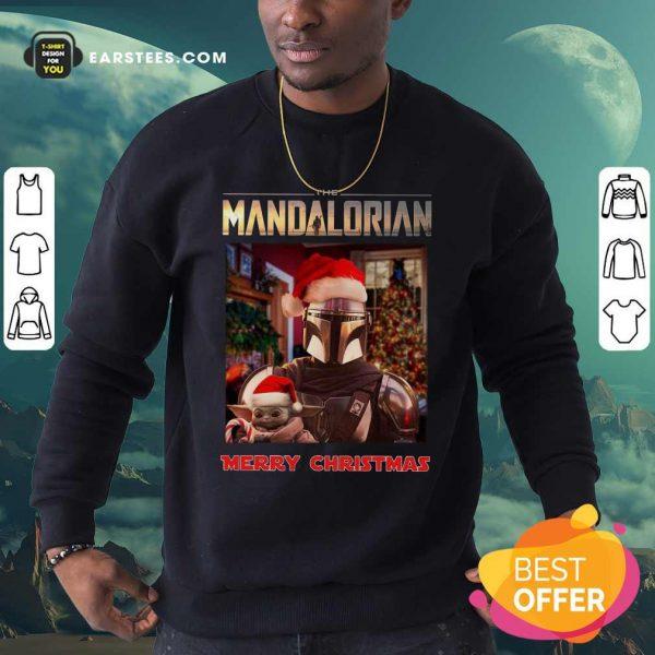 Star Wars The Mandalorian And Baby Yoda Merry Christmas Sweatshirt- Design By Earstees.com