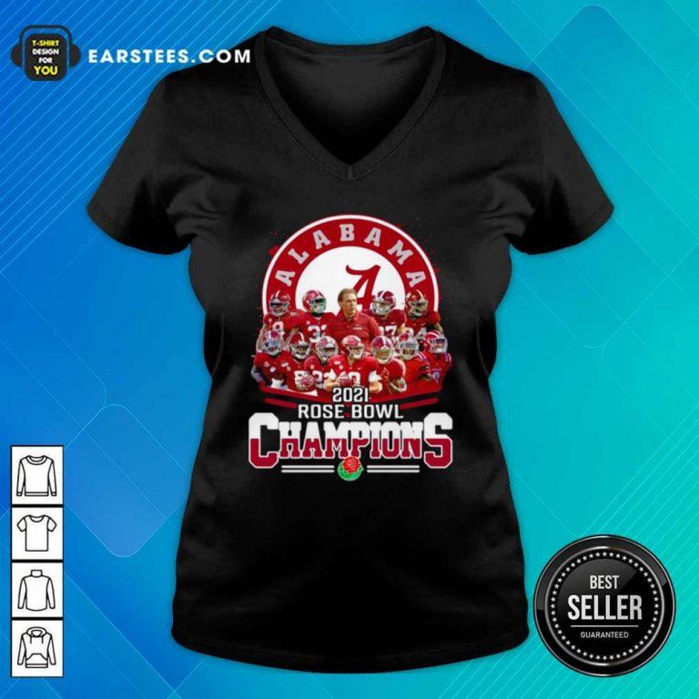 Alabama Crimson Tide 2021 Rose Bowl Champions V-neck- Design By Earstees.com