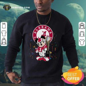 Mickey Mouse And Cup Alabama Crimson Tide Football Sweatshirt- Design By Earstees.com