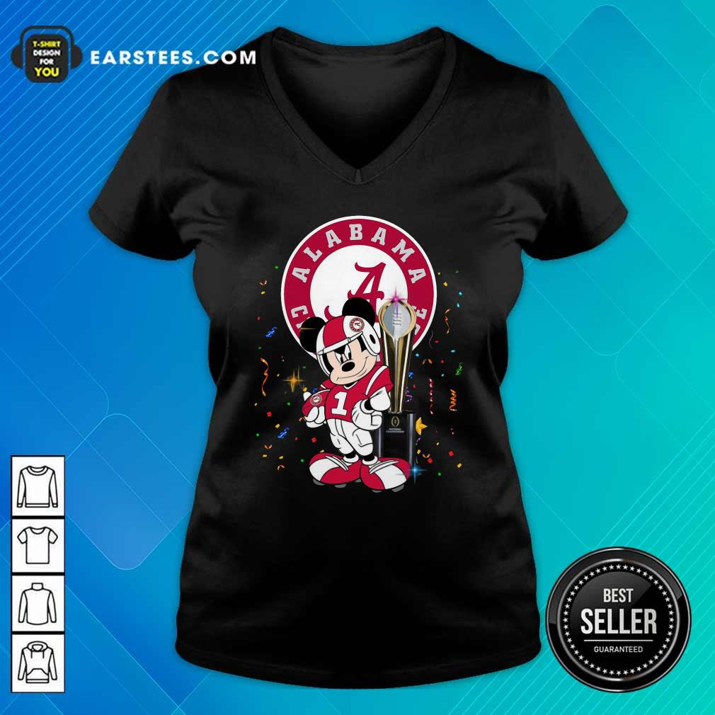 Mickey Mouse And Cup Alabama Crimson Tide Football V-neck- Design By Earstees.com