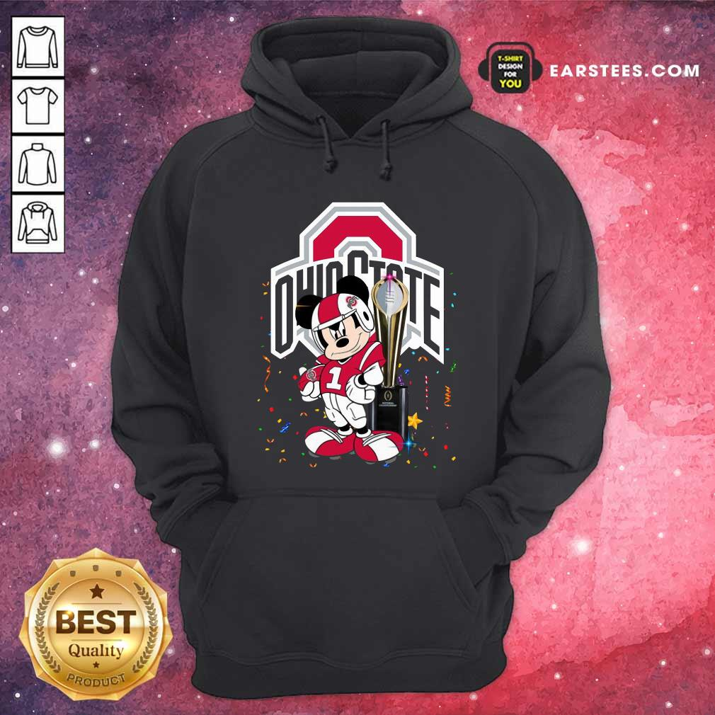 Mickey Mouse And Cup Ohio State Buckeyes Hoodie- Design By Earstees.com